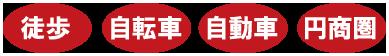 徒歩・自転車・自動車・円商圏